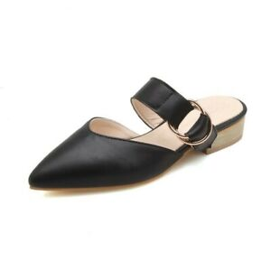 Women Backless Casual Flat Heel Closed Pointy Toe Slipper Slip On Shoes SZ 34-48