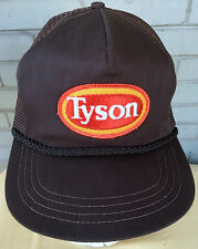 Tyson Meat Chicken Brown VTG Snapback Baseball Cap Hat Mesh Made in USA