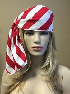 Unisex Red/White Stripe Bandana Pirate Rag Costume Head Wrap Novelty Party Favor