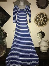 Free People Beach Blue Wht Stripe Long Sleeve Jersey Maxi Dress Women's Sz S / P