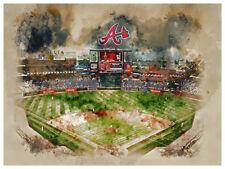 "Atlanta Braves Poster Watercolor Art Print Man Cave Decor 12x16"""