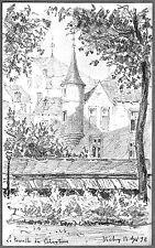 LÉON BERVILLE DESSIN ORIGINAL 1896 VICHY TOURELLE DES CÉLESTINS Allier Auvergne