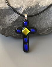 Mosaic Cross Dichroic Fused Glass Pendant