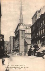 Vintage Postcard Old South Church where Benjamin Franklin was Baptized Boston MA