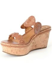 Jack Rogers Leigh Leather Whipstitched Double Banded Wedge Sandals