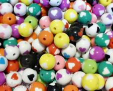 40 Love Heart Beads Mixed Colours Round Glossy Acrylic 16mm CLEARANCE