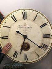 "30"" WEATHERED CRACKLED FINISH BRASS LAMINATED ROUND WALL CLOCK WITH PENDULUM"