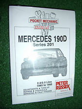 MERCEDES BENZ 201 SERIES 190D 2L 2.5 DIESEL Inc TURBO WORKSHOP MANUAL 1983-1992