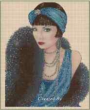 Counted Cross Stitch Art Deco Lady Blue Dress/Black Stole COMPLETE KIT- No. 1-18