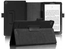 BLACK FLIP LEATHER CASE COVER FOR ALL NEW AMAZON KINDLE FIRE HD 8 2017 TABLET
