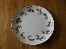 Pottery Barn Christmas Silly Stag Reindeer Round Large Platter FedEx-New