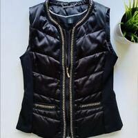 WHBM Black Puffer Vest w/ Chain Detail Women's XS XSmall EUC