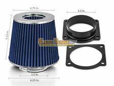 Mass Air Flow Sensor Intake Adapter + BLUE Filter For 92-02 Crown Victoria 4.6