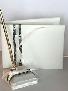 Wedding Ivory Satin Guestbook and Pen Set, Well-Suited Green Camouflage