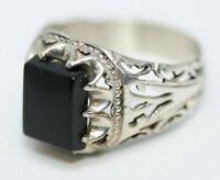 Statement New 3CT Square Black Onyx 925 Sterling Silver Mens Filigree Ring Sz 10