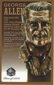 George Allen Washington Redskins Football Hall of Fame Bust Card