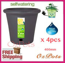 400mm Self Watering Plant Pots x 4pcs ( Pewter ) - Indoor & Outdoor - Made in AU