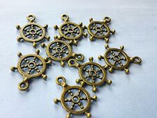 6 Ship Wheel Charms Antiqued Bronze Helm Pendants Nautical