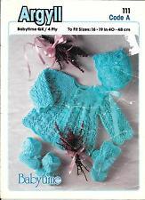 """Argyll 111 Vintage Baby Knitting Pattern  Pram Set 16-19"""" QK/DK/4 ply Cardigan"""