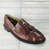 Johnston Murphy Handcrafted Mens 9 M Brown Leather Tassel Split Toe Shoe Loafer