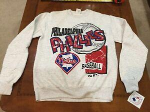 1993 MLB Philadelphia Phillies MAJESTIC Sweatshirt VINTAGE NOS Dead Stock Large