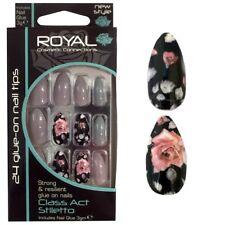 Kit de 24 faux ongles & colle beiges gris & 8 noirs avec fleurs forme stiletto