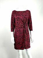Per Una Dress UK 14 Purple & Black Floral Pattern Smart Casual
