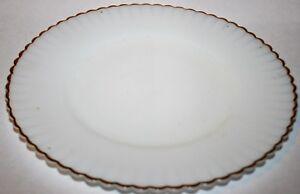 "Vintage MacBeth Evans Depression Glass White Gold Trim 8"" Salad Luncheon Plate !"