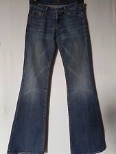"WOMEN'S JEANS 7 FOR ALL MANKIND FLARE STRETCH SIZE 8 LEG 32.5"" FREE POSTAGE"