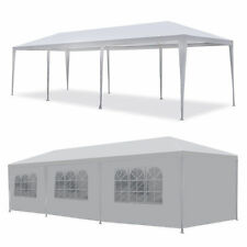 10' x30' BBQ Gazebo Pavilion Canopy Wedding Party Tent With Side Walls White