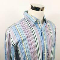 Peter Millar Mens Large Luxury Button Front Shirt Rainbow Striped 100% Cotton