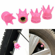 4 x Pink Crowns Car SUV Truck Bike Tyre Tire Valve Stem Caps Covers Accessories