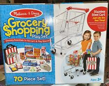 Melissa & Doug Grocery Shopping Cart, Groceries Pretend Play Set - 70 Pieces NEW