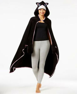 PJ Couture Women's Black Poncho Animal Hooded Lounge One Size