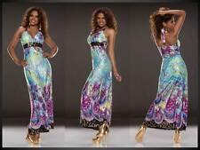 Maxikleid Neckholderkleid Abendkleid Printkleid Kleid lila blau gold 34 36 (780)