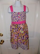 Bonnie Jean Purple Floral/Paisley Dress  Size 7 Girl's EUC FREE USA SHIPPING