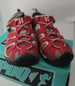 PDQ Toggle & Touch fastening Trail Sandal Red/Grey walking/beach/summer UK 7