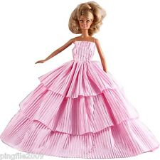 New Handmade Three Tier Pink Wedding Clothes Outfits For Barbie Doll d1111