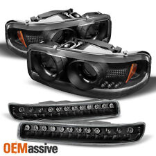 Fits 00-06 Gmc Sierra Yukon Halo Projcetor Headlights + Led Bumper Signal Lamps (Fits: Gmc)