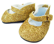 Sparkle Gold Glitter Mary Jane Dress Shoes made for Bitty Baby Doll Clothes