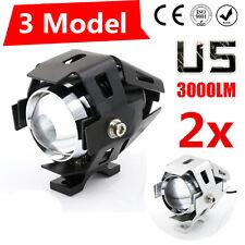 2x 125W 3000 Lumen LED CREE U5 conduite moto Fog Spot Light Phare Noir argent CA