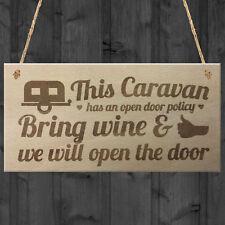 Open Door Policy Caravan Wood Plaque Shabby Chic Sign Best Friend Alcohol Gift