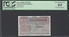 Lao One Kip ND 1962 Pick8as Signature 3 Specimen Perforated Uncirculated