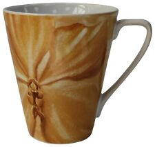 Set of 6 Extra Large Coffee Mugs Floral Yellow Design Mugs 420ml Capacity