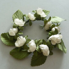 Candle Ring Ball Flowers Bloom Wedding Christening Table Decoration Cream 7 CM