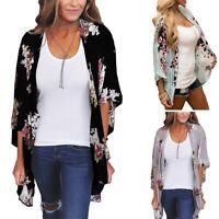 Women Floral Print Open Front Kimono Cardigan Summer Beach Jacket Coat Plus Size