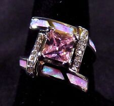 Sterling 925 Silver SF Size 8 Ring Pink Lab Fire Opal & 6mm Pink Topaz & WT