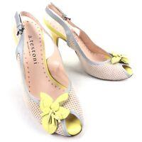 A Testoni Women's Peep Toe High Heel Leather Sunflower Yellow • Italy • Size 35