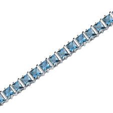 13.25 CT Princess London Blue Topaz Sterling Silver Bracelet