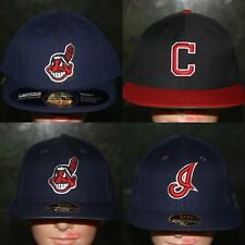 New Era Cleveland Indians Fitted Hat Cap 6 7/8 7 1/8 1/4 7/8 8 Navy Blue Red